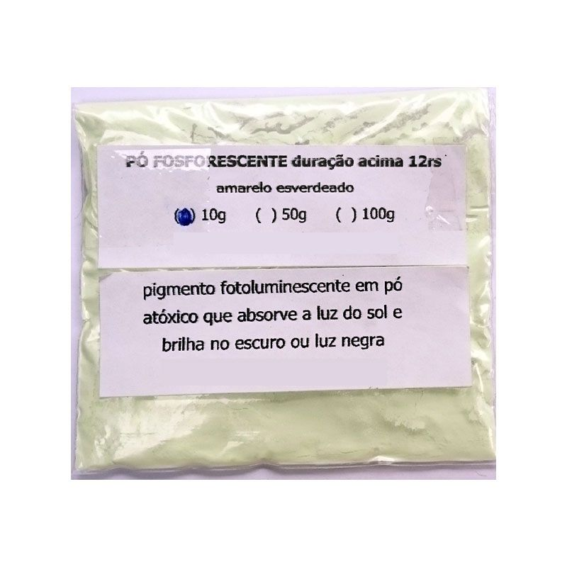 Pó Fosforescente 12hs - 10 gramas (amarelo-esverdeado, brilha no escuro e na luz negra)