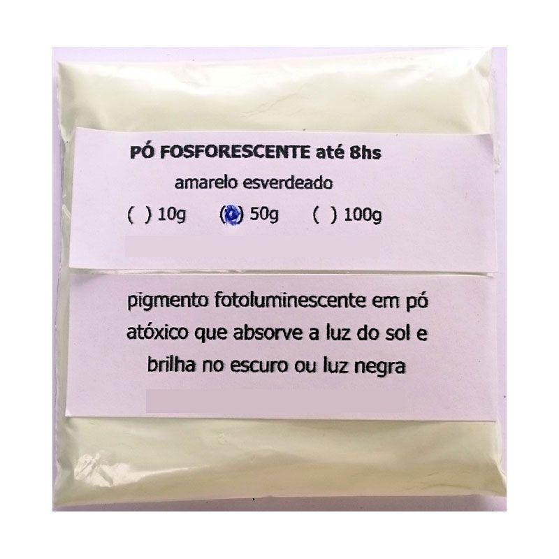 Pó Fosforescente até 8hs (10g, 50g, 100g) Amarelo-esverdeado (brilha no escuro e na luz negra)