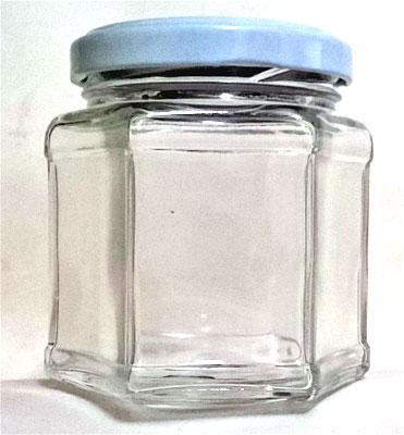 vidro pote sextavado com tampa