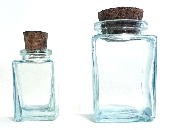vidro retangular com rolha - base quadrada  - Momento da Arte