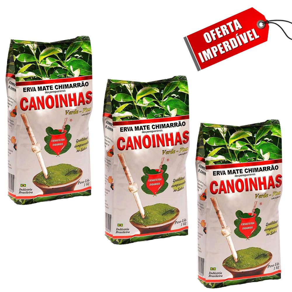 Kit 3 Pacotes de Erva Mate Canoinhas Moída Fina Verde - 1Kg