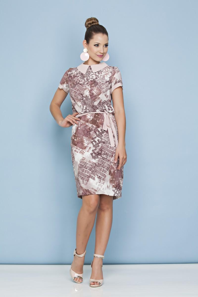 1002 - vestido em Crepe estampado c/ forro Det. e cinto em modal
