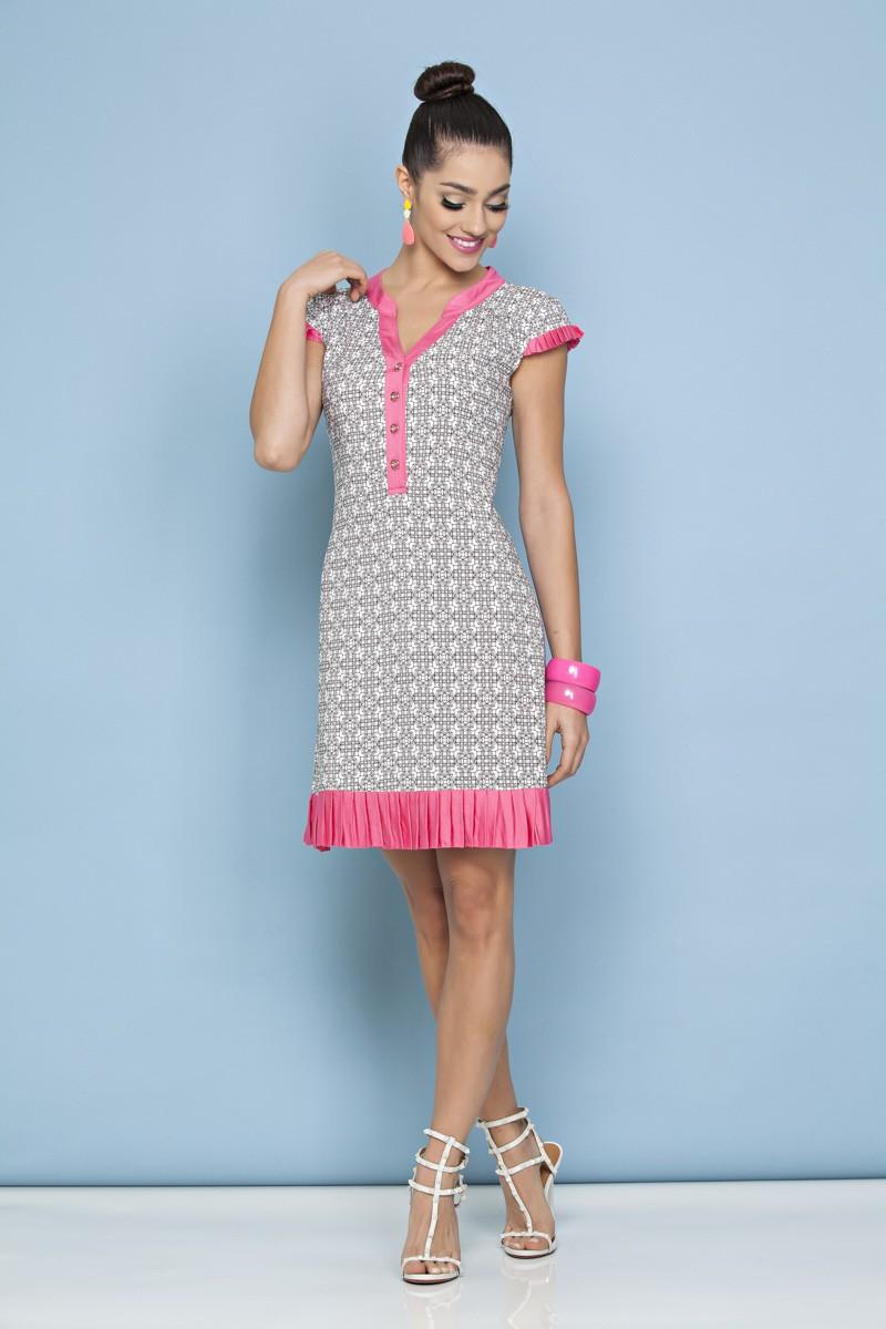 1033 - Vestido em viscose estampada e det. em viscose