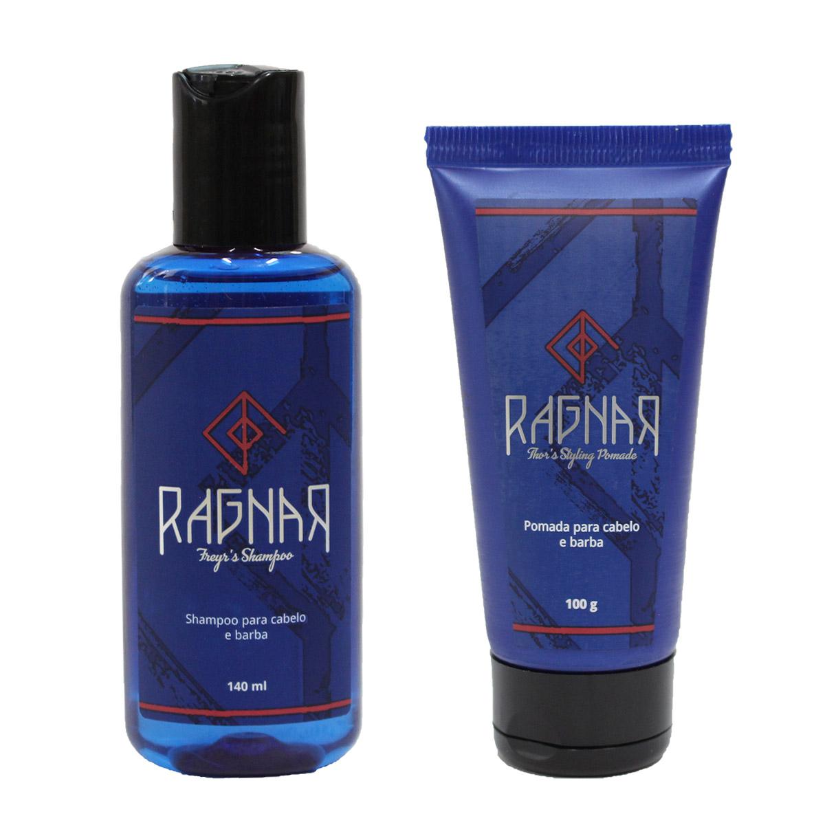 Shampoo para Cabelo e Barba 140 ml (Freyr's Shampoo) + Pomada para Cabelo e Barba 100 g (Thor's Styling Pomade)