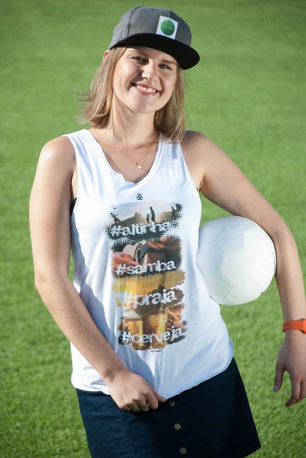 Camiseta Regata Feminina Futebol Combina com...