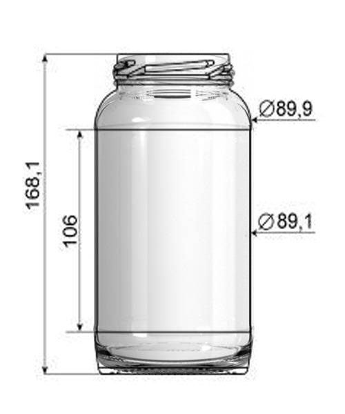 12 Potes De Vidro Conserva de 800ml  (AZ 500) - CX c/ 12
