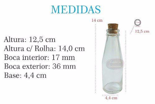 Garrafinha 100ml Vidro Cajuzinho Rolha Suco - Pacote Com 50