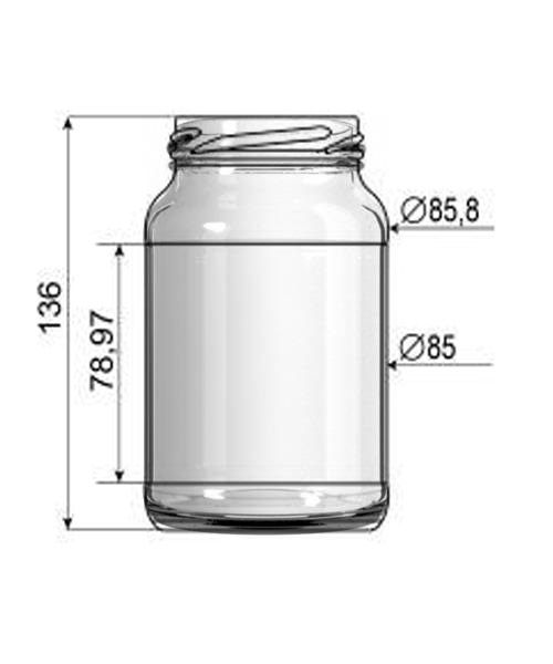 Pote de Vidro Conserva 600ml - Caixa com 30 unidades