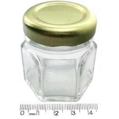 Pote de Vidro Sextavado 40ml - Caixa com 50 unidades