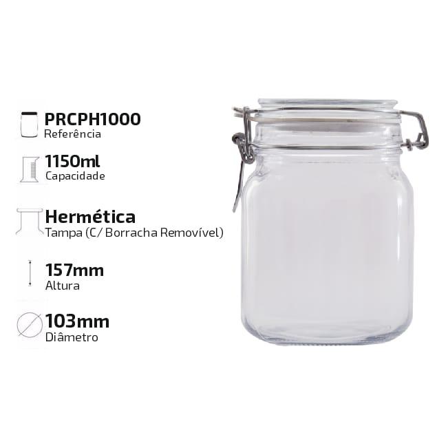 Pote Hermético De Vidro 1 Litro