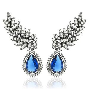 Brinco Ear Cuff Semijoia em Ródio Negro com Zircônia Branca e Gota Cristal Azul Safira