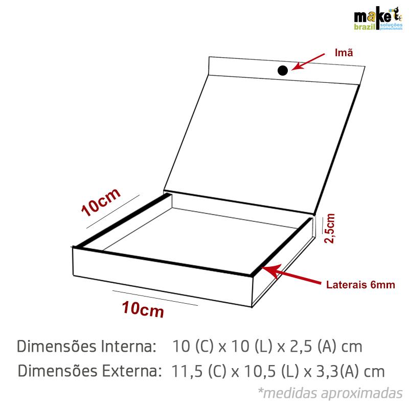 10 x 10 x 2.5cm - Branca - Premium Magnética  - REF.020021