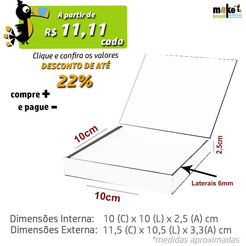 10 x 10 x 2,5cm - Caixa Premium Branca - Ref.025011