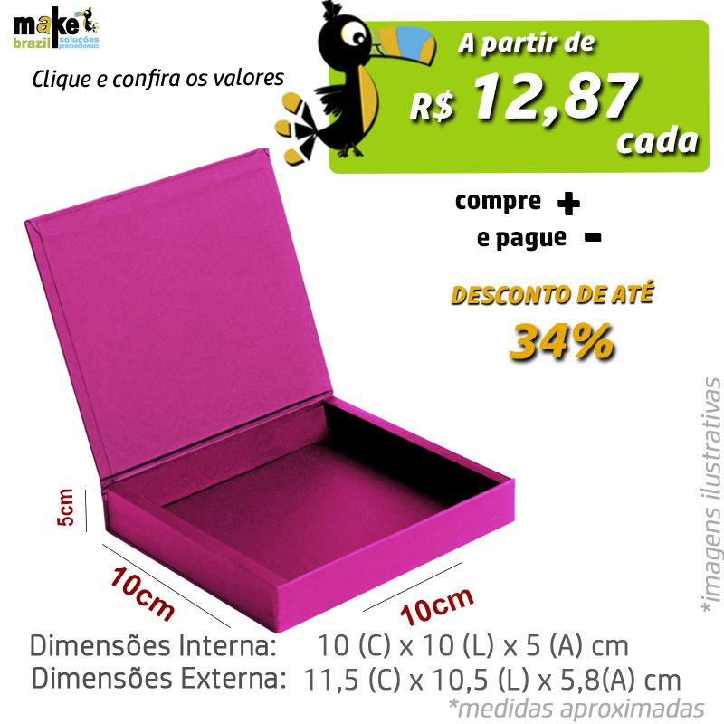 10 x 10 x 5cm - Caixa Premium Color - Ref.025032