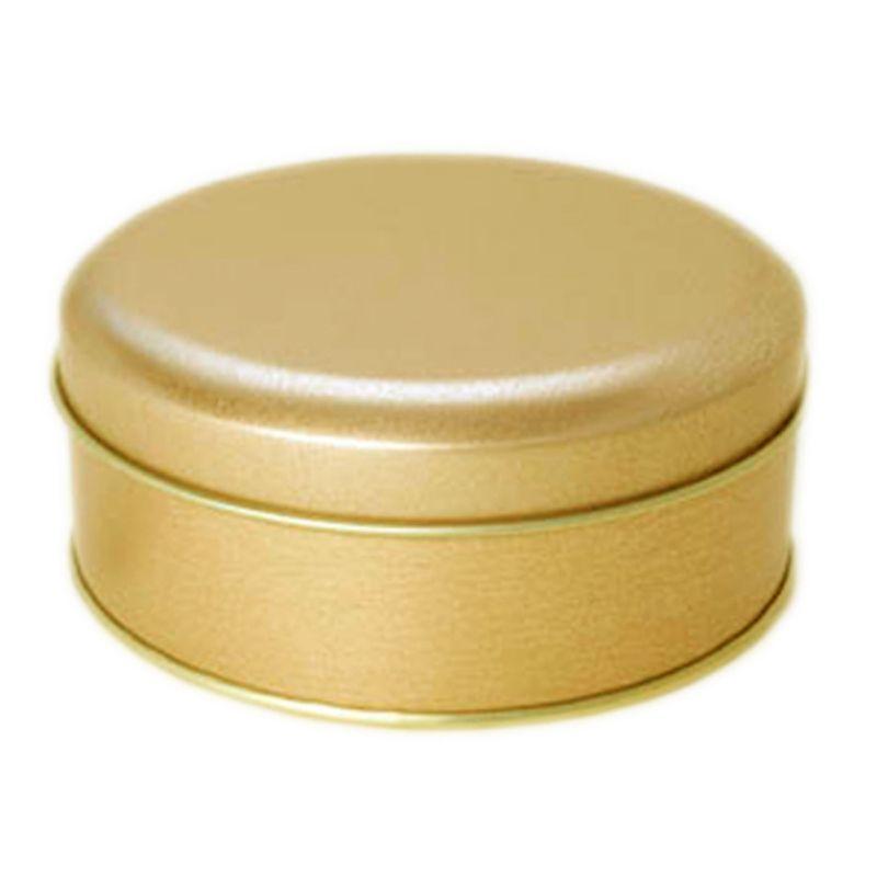 10 x 3,9cm - Lata Aço Redonda Dourada