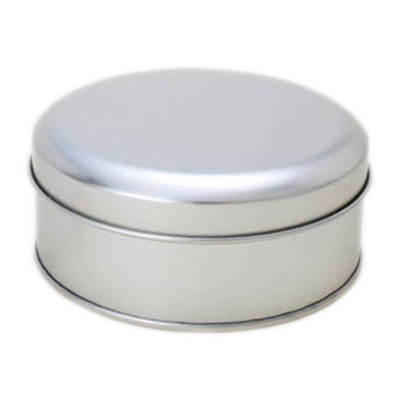 10 x 3,9cm - Lata Aço Redonda Prata