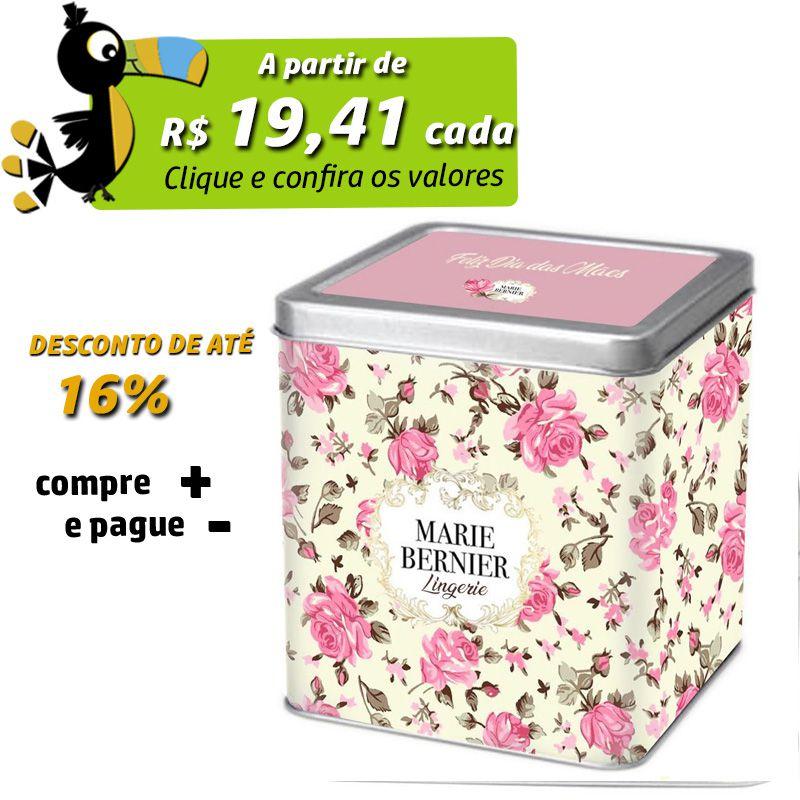 11 x 11 x 12,4cm - Lata Prata - REF.0010876