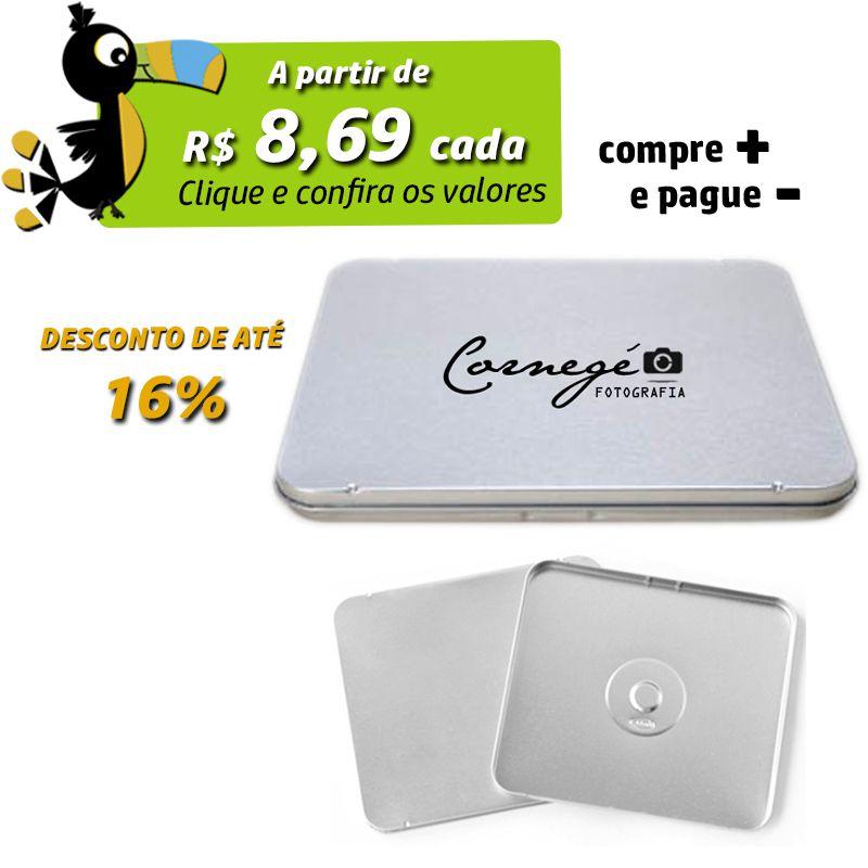 12,2 x 13,9 x 1cm - Lata CD / DVD Prata - REF.0010914