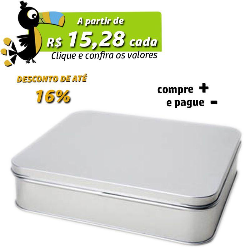 13,8 x 15,5 x 3,8cm - Lata Prata - REF.0010889