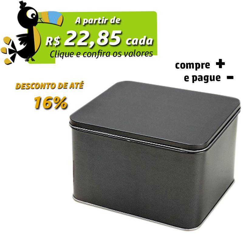 13,8 x 15,5 x 9,9cm - Lata Preta Metalizada - REF.0015128