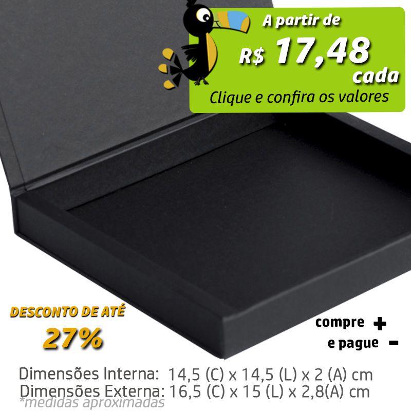 14,5 x 14,5 x 2cm - Caixa Premium Magnética Preta - Ref.020050