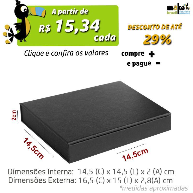 14,5 x 14,5 x 2cm - Caixa Premium Preto - Ref.025050