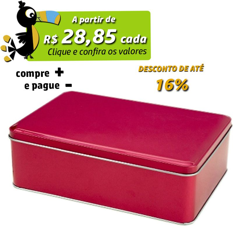 15,1 x 21,7 x 7cm - Lata Cereja Metalizada c/ Dobradiça - REF.0015129