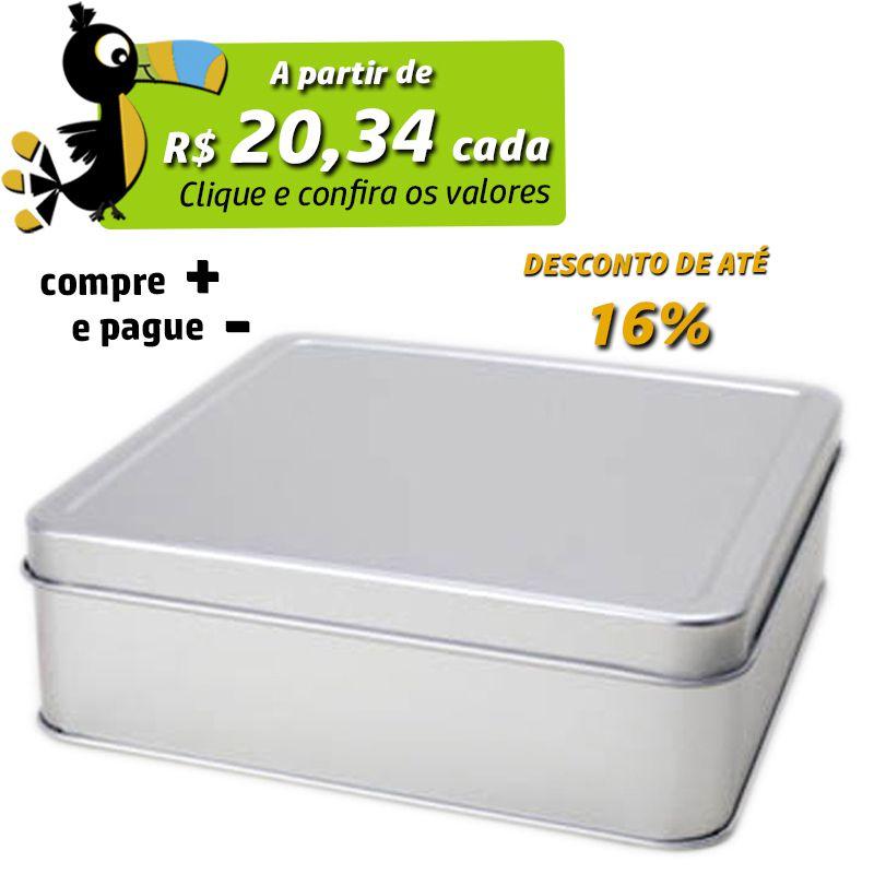 15,4 x 15,4 x 5,1cm - Lata Prata - REF.0010879