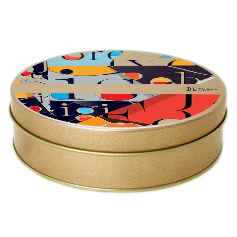 15,5 x 4,5cm - Lata Redonda Dourada - Ref.0010980