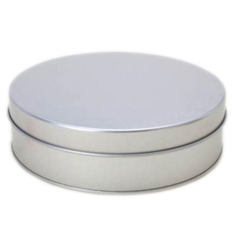15,5x 4,5cm Lata Aço Redonda Prata
