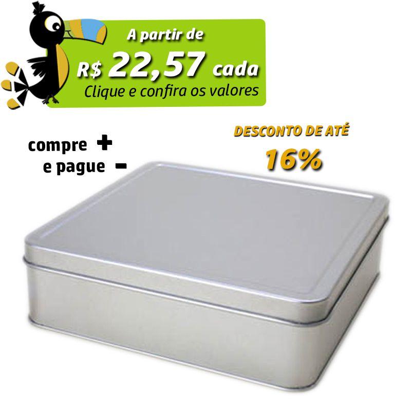 17,3 x 17,3 x 5,1cm - Lata Prata - REF.0010880