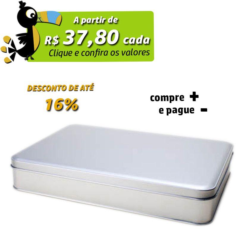 20,5 x 29,2 x 4,5cm - Lata Prata - REF.0010894