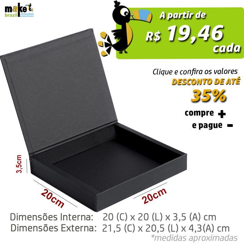 20 x 20 x 3,5cm - Caixa Premium Preta - Ref.025110