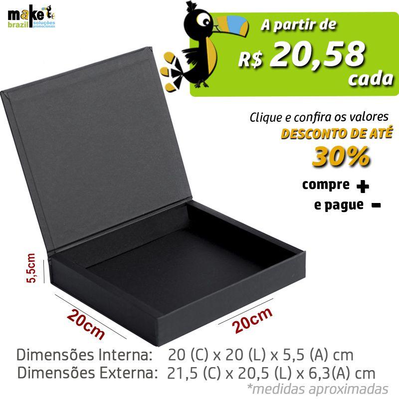 20 x 20 x 5,5cm - Caixa Premium Preta - Ref.025120