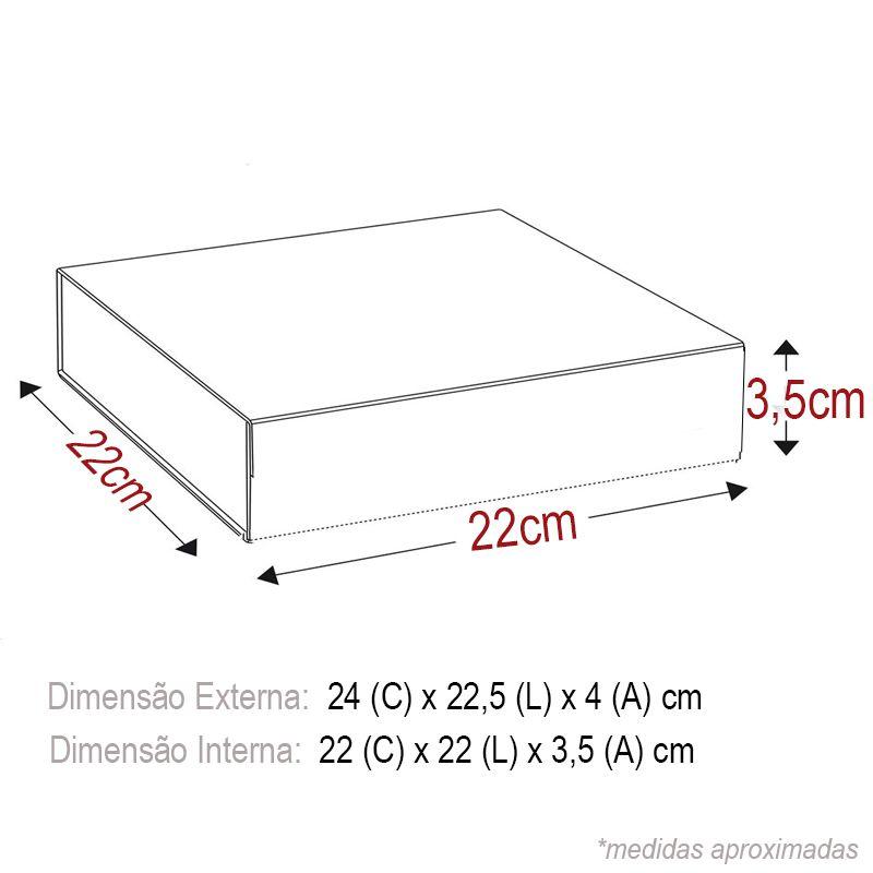 22 x 22 x 3,5cm - Caixa Rígida Magnética Preta - Ref.0200020 - A partir de