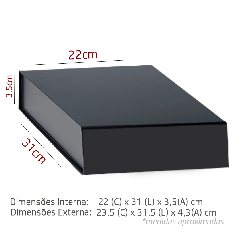 22 x 31 x 3,5cm - A4 - Preta - PREMIUM - REF.025140 - A PARTIR DE