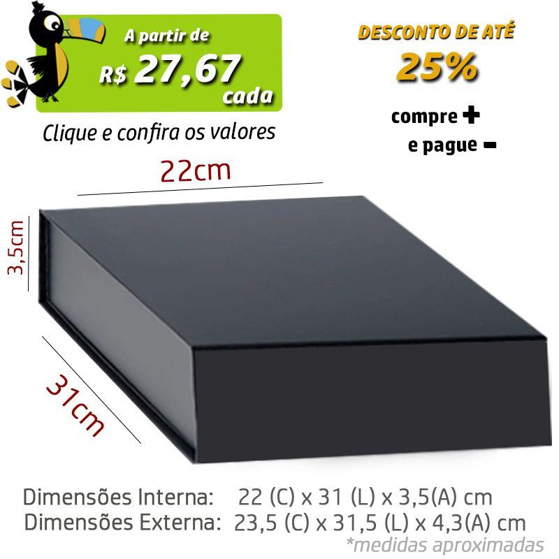 22 x 31 x 3,5CM - CAIXA PREMIUM MAGNÉTICA PRETA - REF.020140
