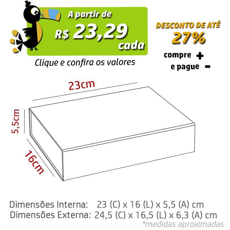 23 x 16 x 5,5CM - CAIXA PREMIUM MAGNÉTICA PRETA - REF.020150