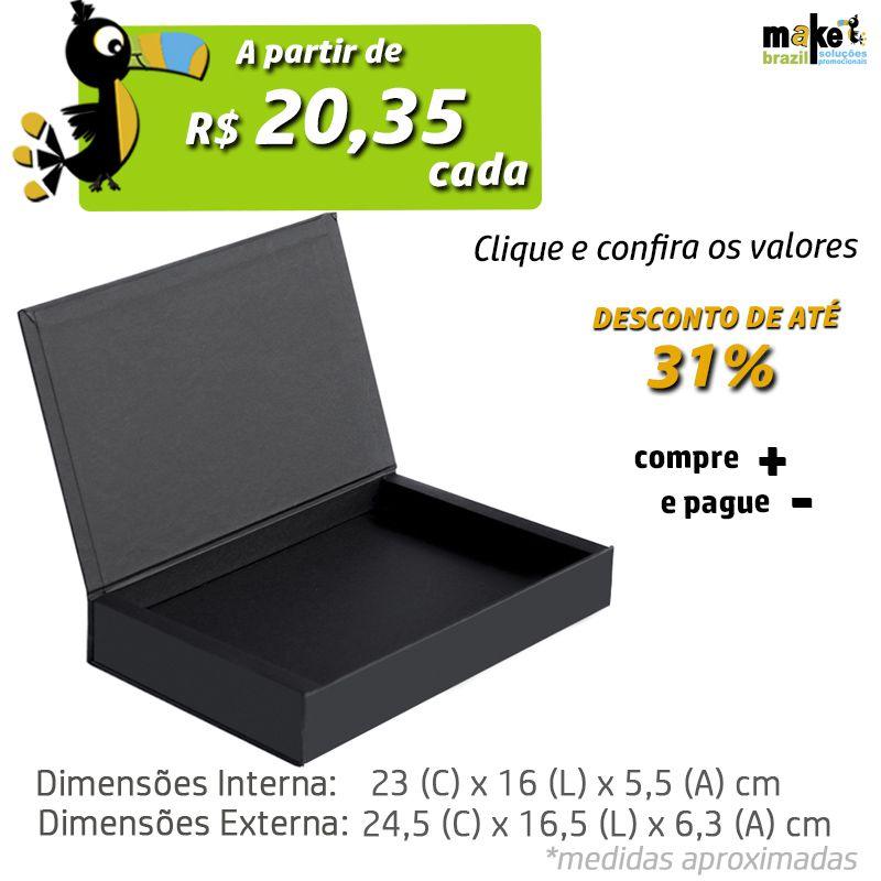 23 x 16 x 5,5cm - Caixa Premium Preta - Ref.025150