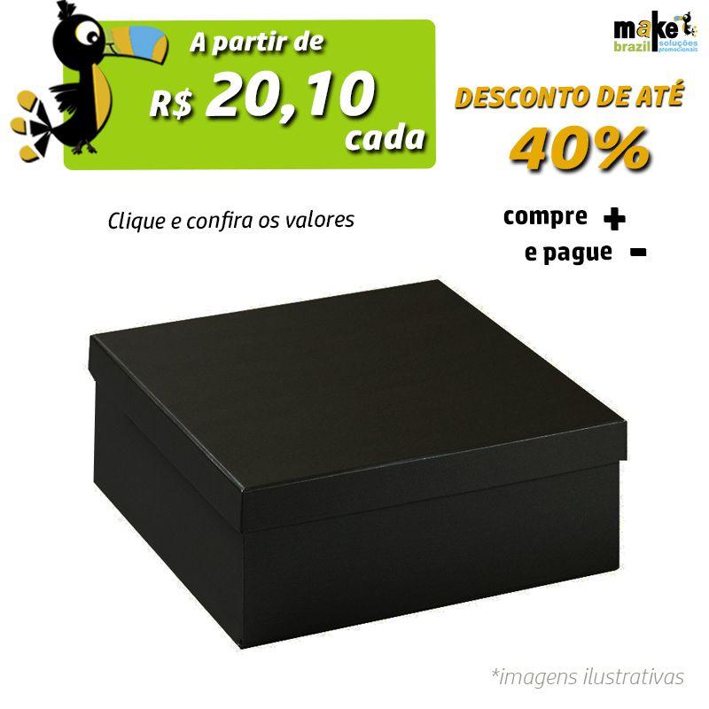 23 x 23 x 8,5cm - Caixa Tradicional Couro Preto - Ref.029103
