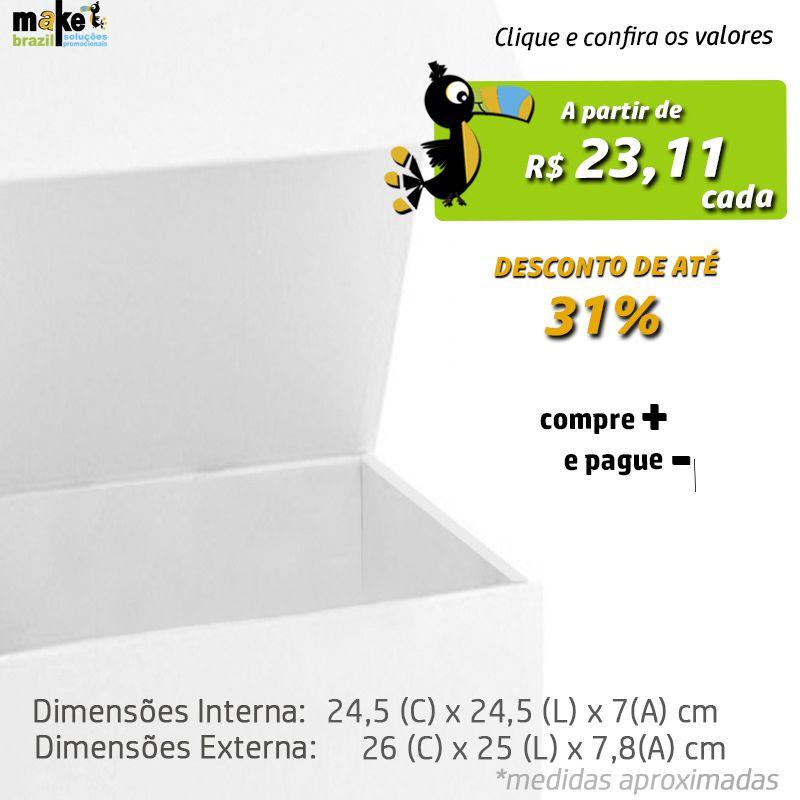 24,5 x 24,5 x 7CM - CAIXA PREMIUM MAGNÉTICA BRANCA - REF.020191