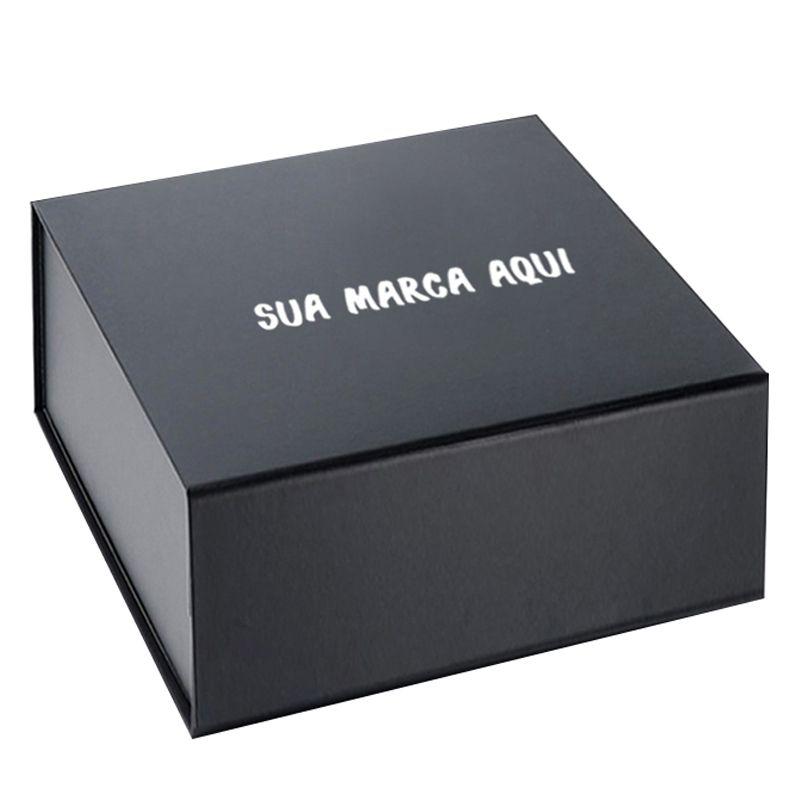 24,5 x 24,5 x 7CM - CAIXA PREMIUM MAGNÉTICA PRETA - REF.020190