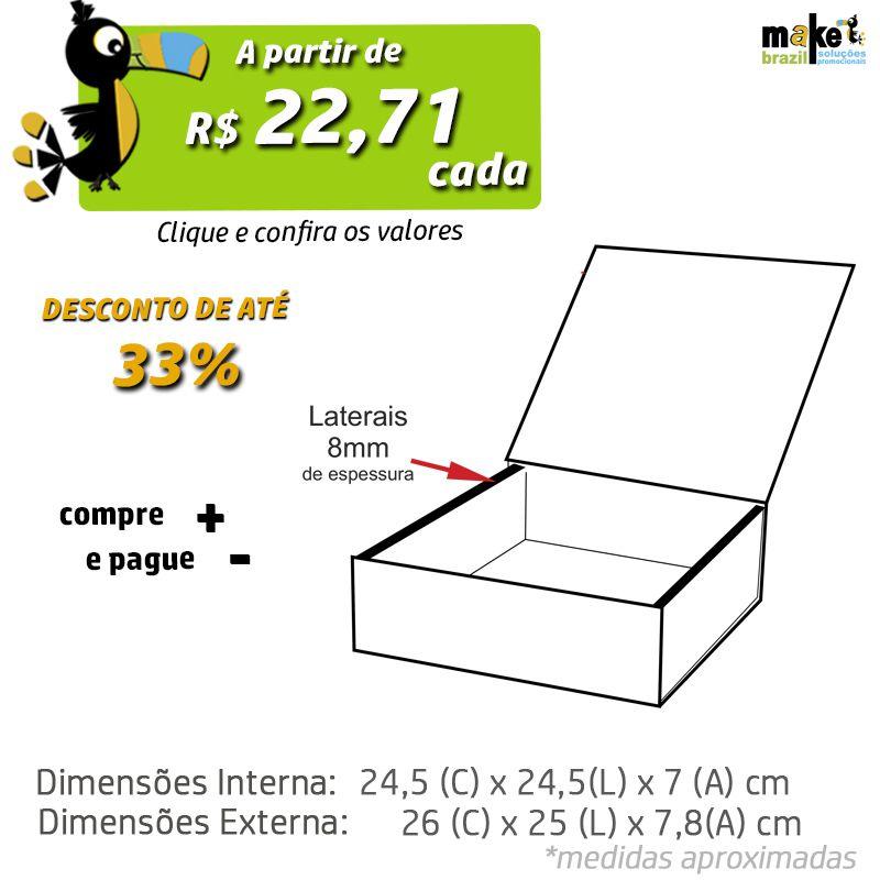 24,5 x 24,5 x 7cm - Caixa Premium Preta - Ref.025190