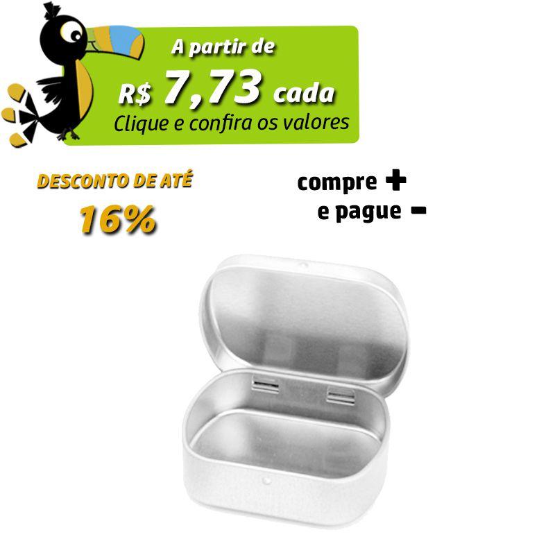 4,6 x 5,7 x 1,6 cm - Lata Prata c/ Dobradiça - REF.0014968