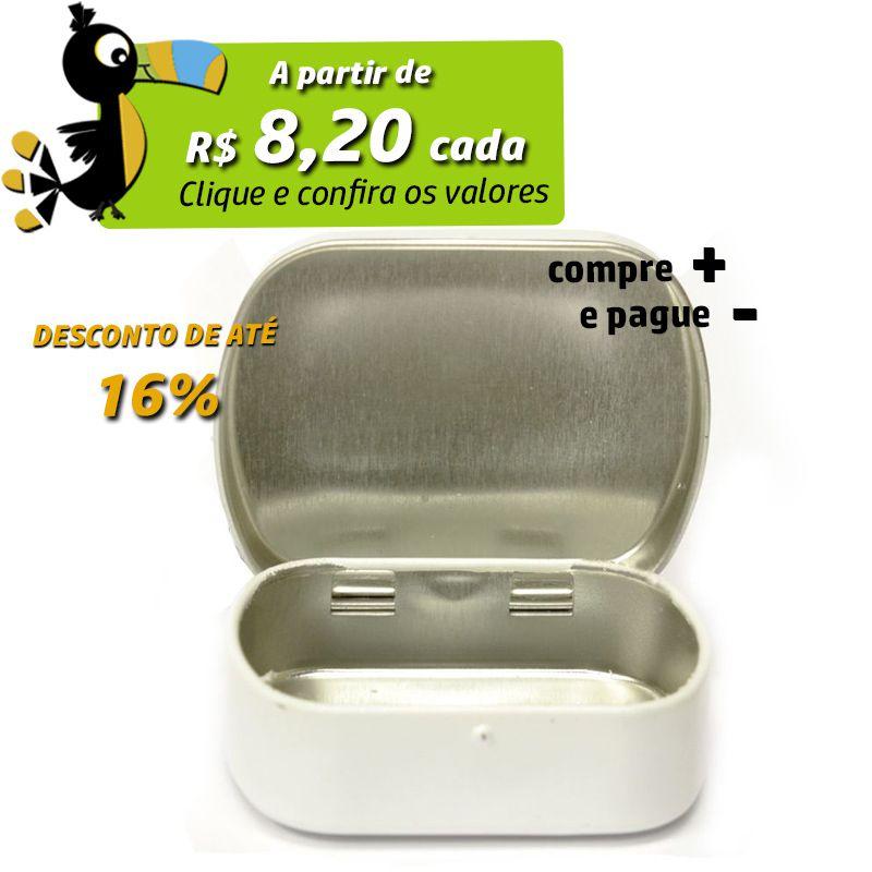 4,6 x 5,7 x 1,6cm - Lata Branca c/ Dobradiça - REF.0015101