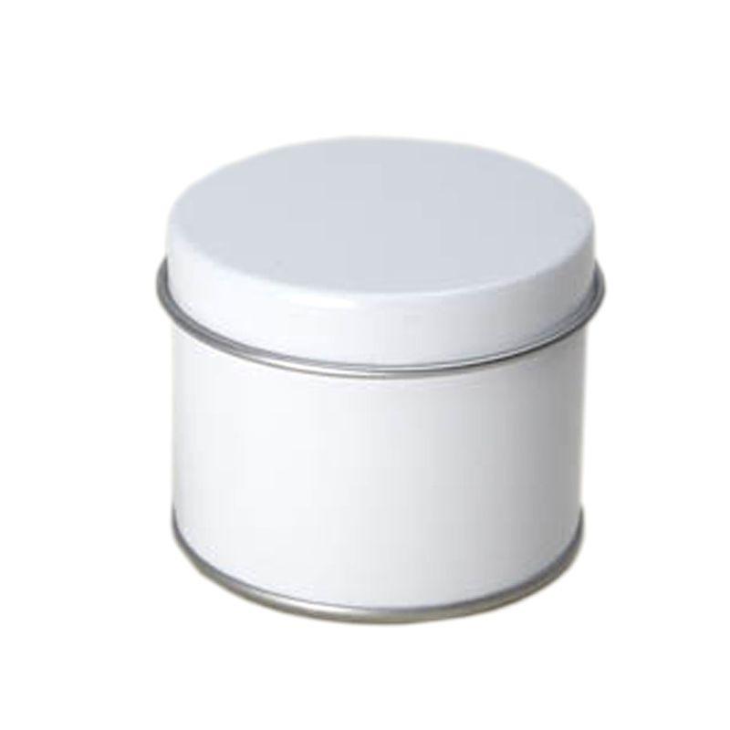 5,5 x 4,4cm - Lata Aço Redonda Branca