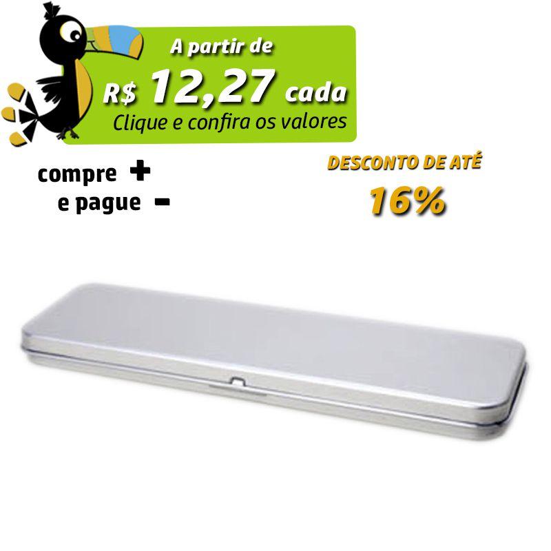 6,1 x 20,1 x 1,5cm - Lata Prata c/ Dobradiça - REF.0010885