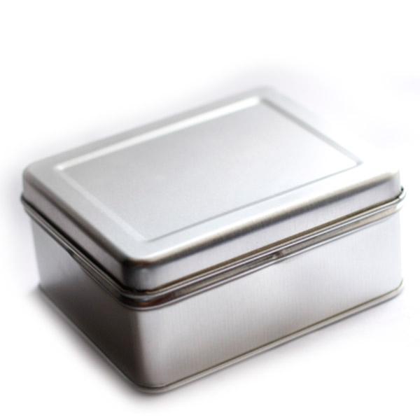 8 x 10 x 4cm Lata Aço Prata com Dobradiças