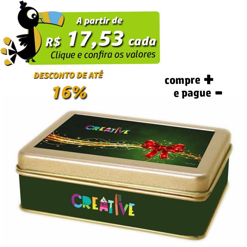 9,6 x 12,8 x 4cm - Lata Dourada - REF.0010951