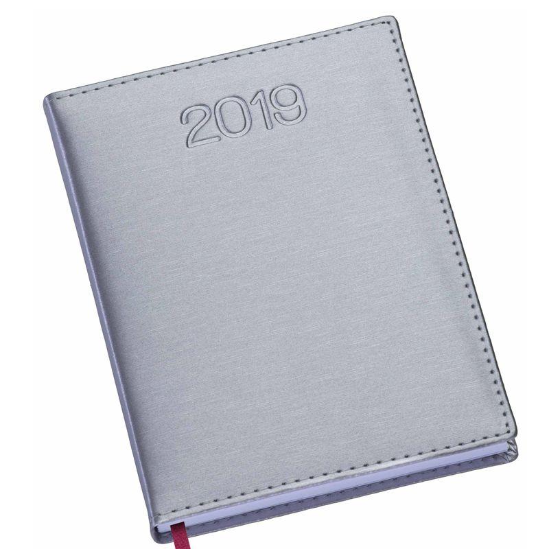 Agenda diária 2019, capa couro sintético metalizado Ref.0014022